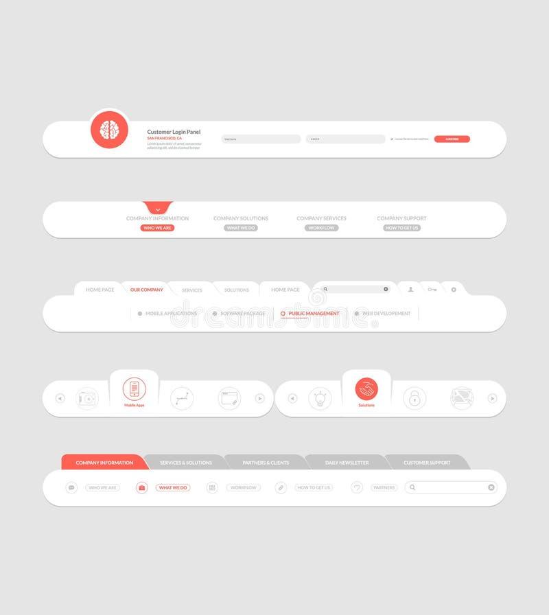Elementi piani di navigazione del sito Web con le insegne e le icone di concetto royalty illustrazione gratis