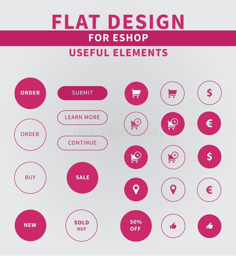 Elementi piani di progettazione delle icone del eshop illustrazione vettoriale