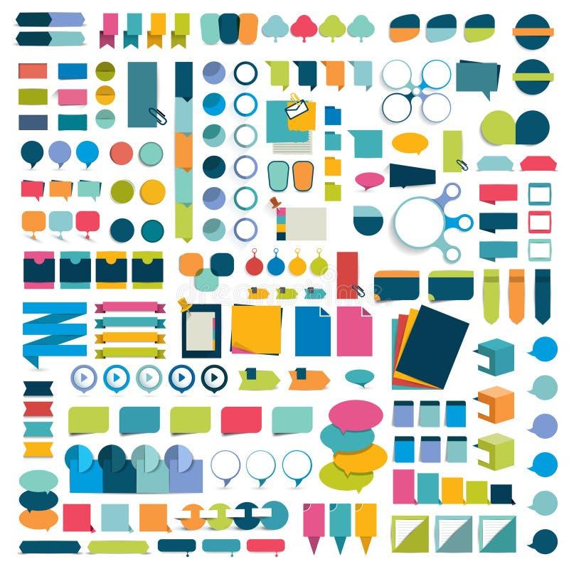 Elementi piani di progettazione di infographics mega dell'insieme, schemi, grafici, bottoni, fumetti, autoadesivi illustrazione di stock