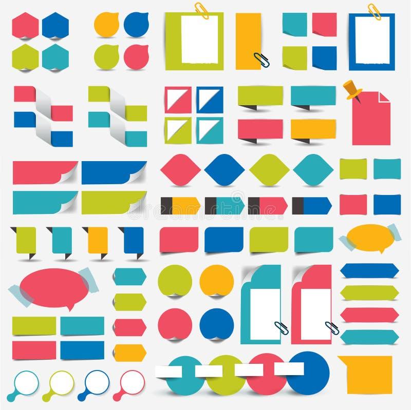 Elementi piani di progettazione di infographics mega dell'insieme, schemi, grafici, bottoni, fumetti, autoadesivi illustrazione vettoriale