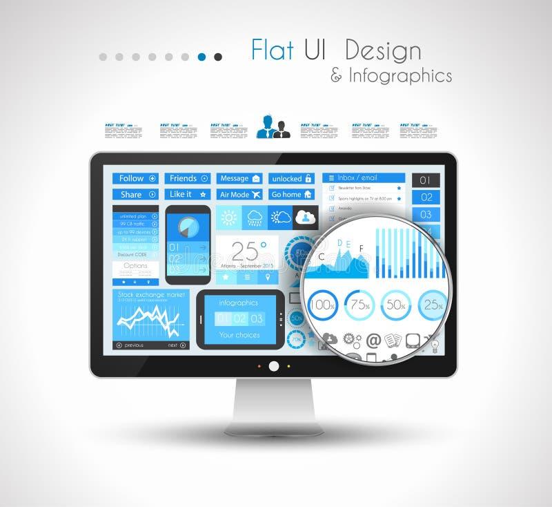 Elementi piani di progettazione di UI per gli elementi piani di progettazione di WUI per il web, Infographics illustrazione vettoriale