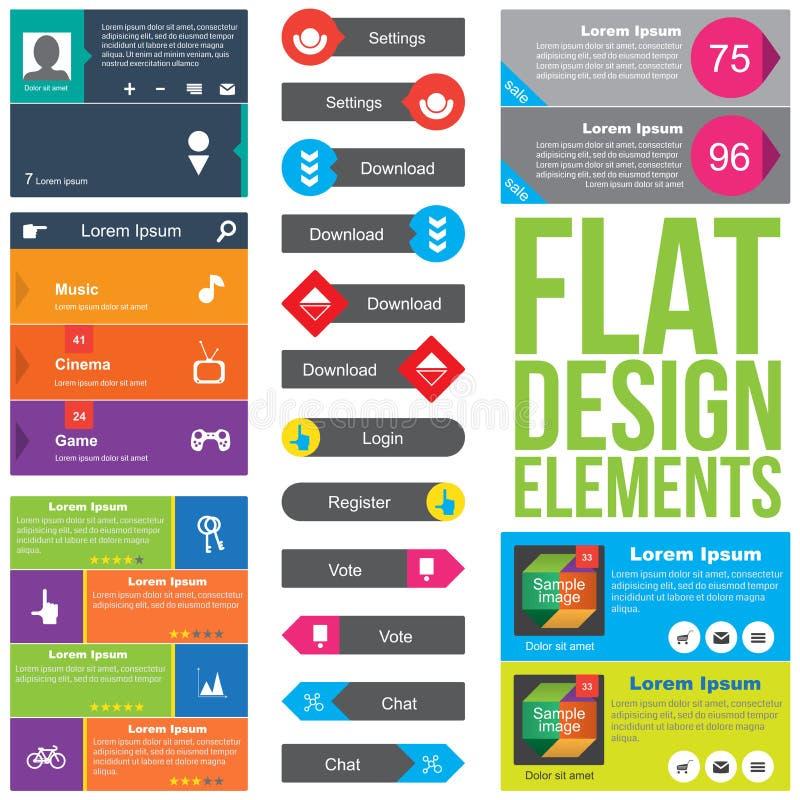 Elementi piani di web design illustrazione vettoriale