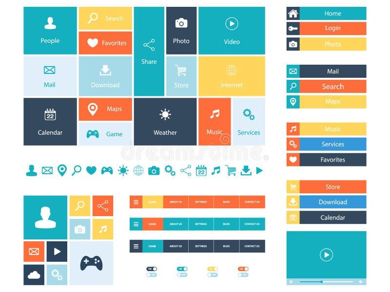 Elementi piani di web design, bottoni, icone Modelli per il sito Web illustrazione di stock