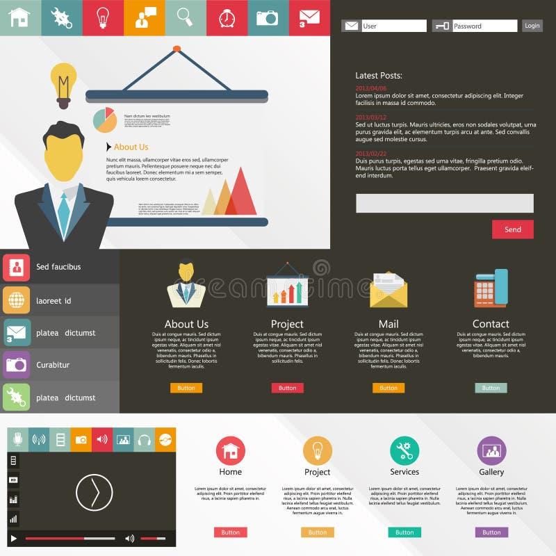Elementi piani di web design, bottoni, icone. Modello del sito Web. illustrazione di stock