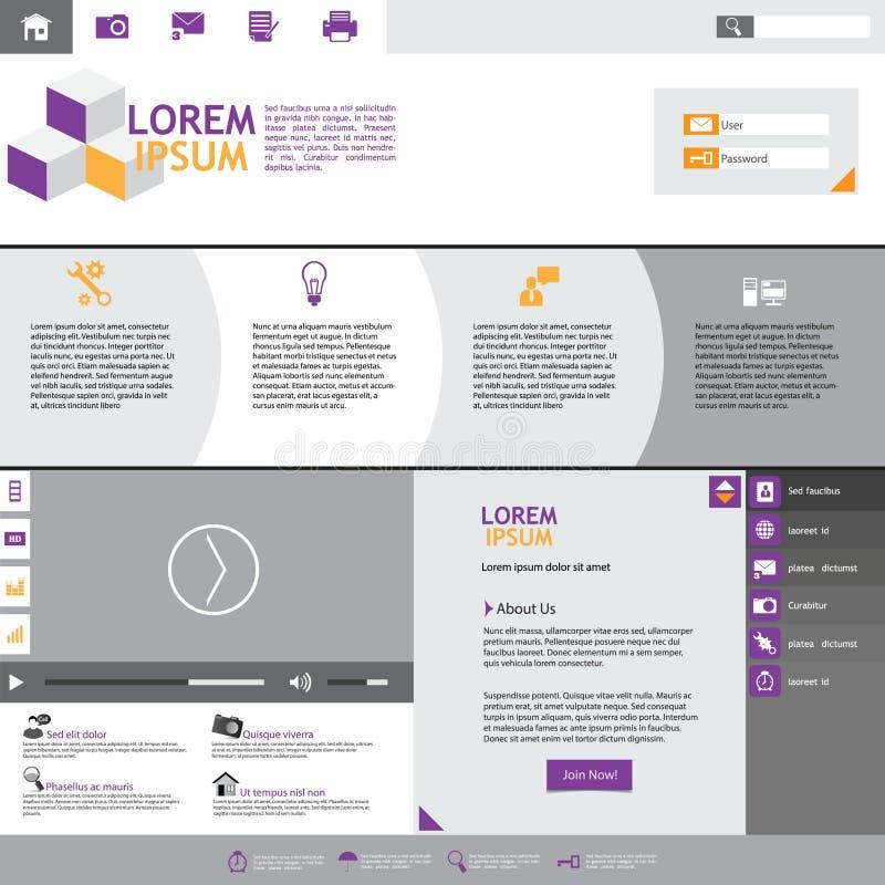 Elementi piani di web design. Modelli per il sito Web. illustrazione vettoriale