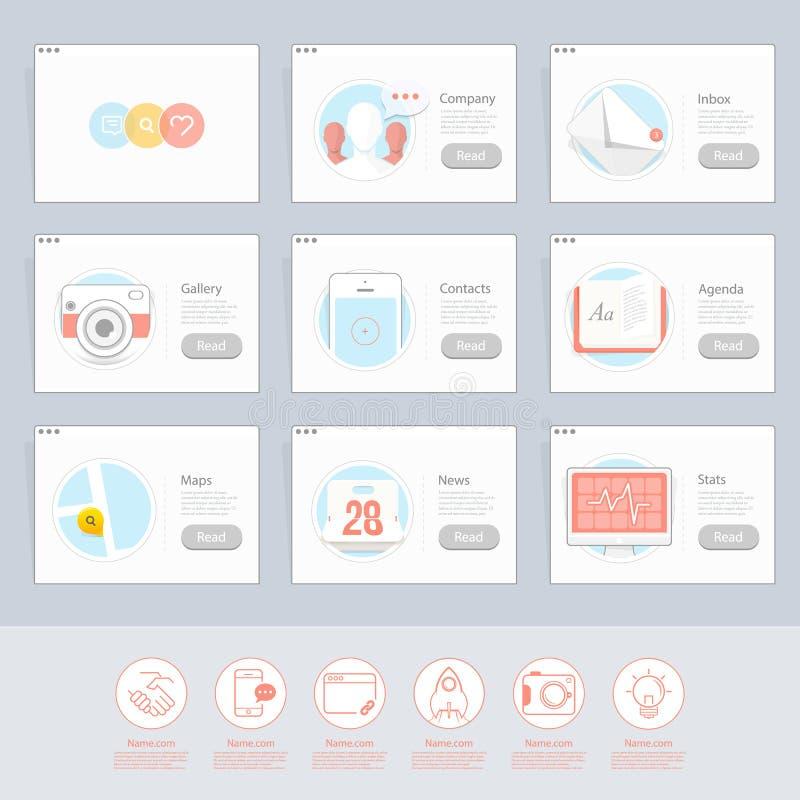 Elementi piani rispondenti delle icone di UI per i modelli illustrazione di stock