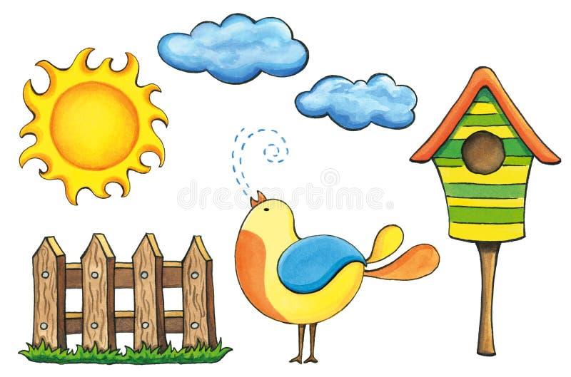 Elementi primavera-estate variopinti di progettazione Insieme di clipart del fumetto immagini stock libere da diritti