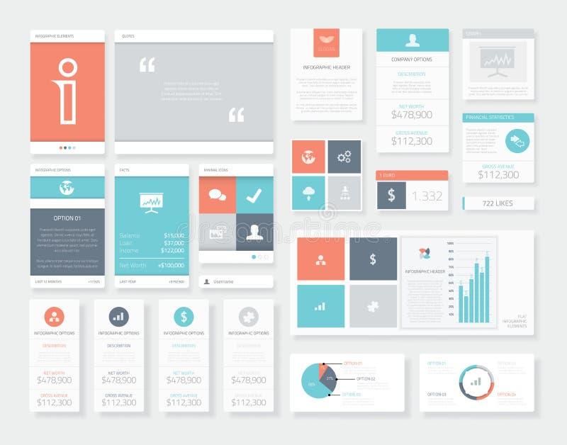 Elementi puliti e freschi di vettore di infographics dell'interfaccia utente (ui) illustrazione vettoriale