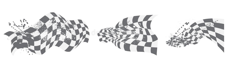 Elementi a quadretti del fondo della bandiera in bianco e nero illustrazione vettoriale
