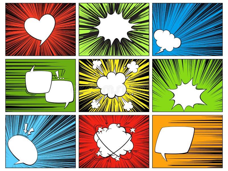 Elementi radiali di discorso Forme comiche del fumetto per i dialoghi che pensano e che parlano sulla linea orizzontale variopint royalty illustrazione gratis