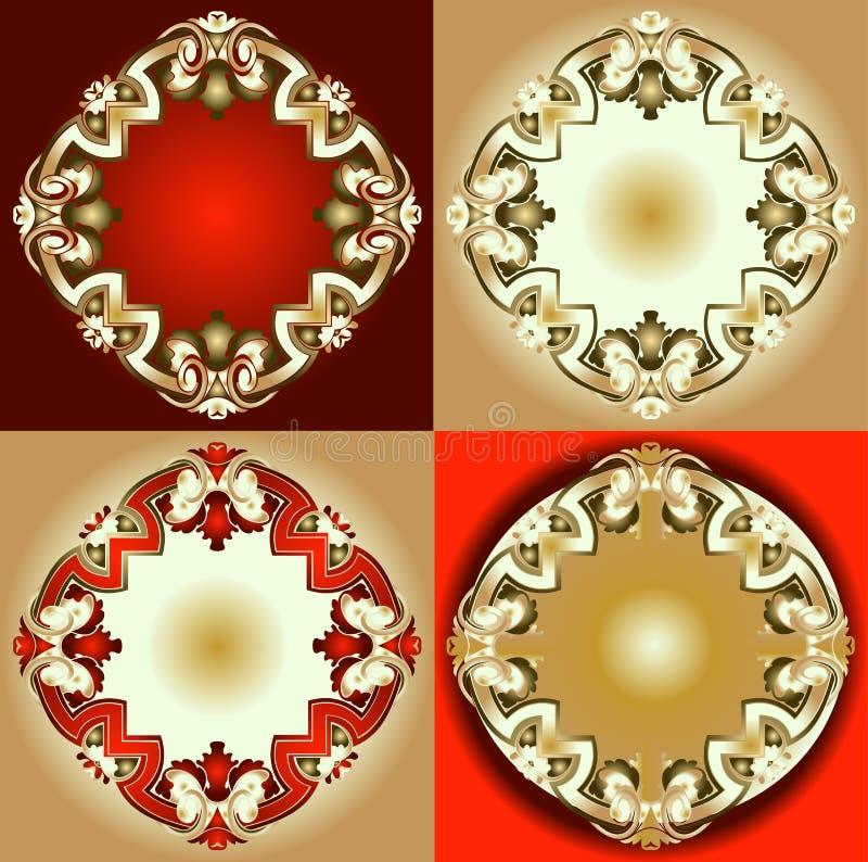 Elementi rossi di disegno dell'ornamento dell'oro illustrazione vettoriale