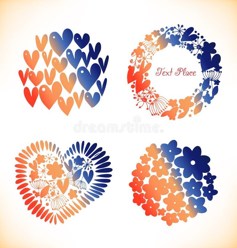 Elementi rotondi decorativi per progettazione Cuori, ghirlanda, mazzo Elementi lucidi di progettazione illustrazione di stock