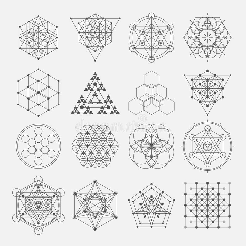 Elementi sacri di progettazione di vettore della geometria alchemia illustrazione di stock