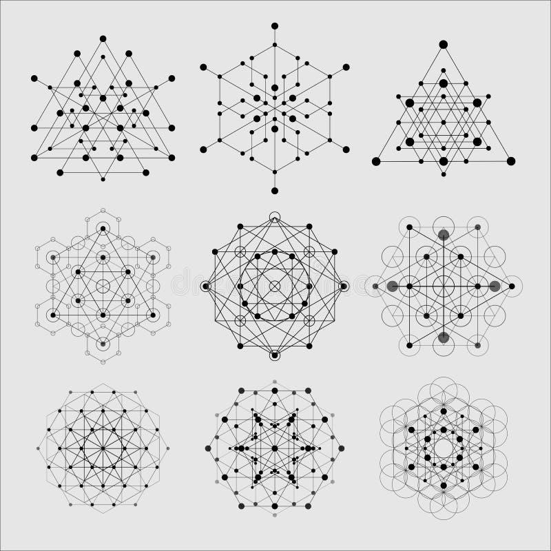 Elementi sacri di progettazione di vettore della geometria Alchemia, religione, filosofia, spiritualità, simboli dei pantaloni a  illustrazione di stock