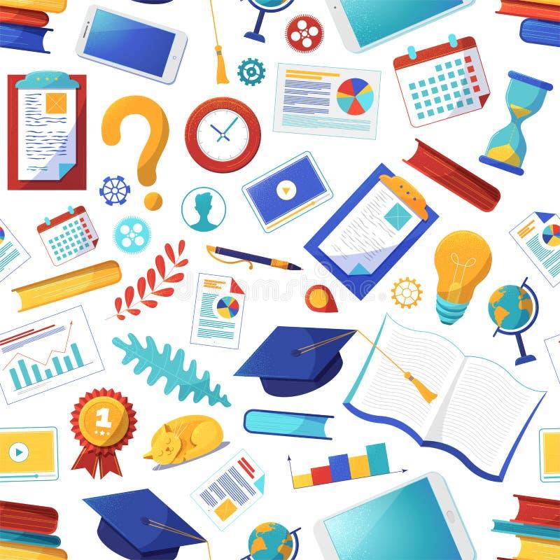 Elementi scolastici con schema a vettore uniforme illustrazione di stock