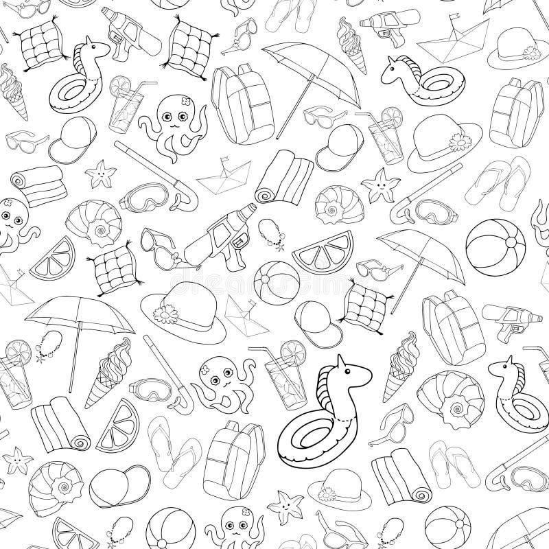 Elementi senza cuciture della spiaggia di estate del modello per i bambini Ruota dentata illustrazione di stock