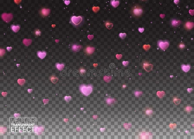 Elementi separati messi a fuoco e brillanti del De Fondo di giorno di biglietti di S. Valentino con i cuori ed i coriandoli di ca illustrazione di stock
