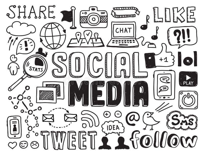 Elementi sociali di scarabocchi di media illustrazione di stock