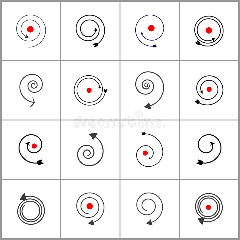 Elementi a spirale di disegno Icone nere e rosse astratte royalty illustrazione gratis