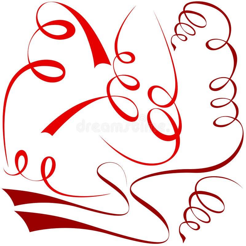Elementi a spirale rossi illustrazione di stock