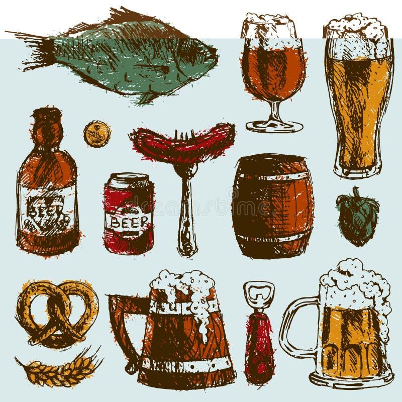 Elementi stabiliti del luppolo del grano della bottiglia della tazza di vettore disegnato a mano di schizzo dell'alimento della b royalty illustrazione gratis
