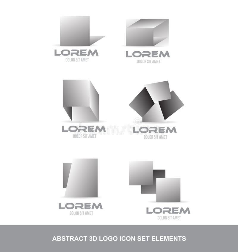 Elementi stabiliti dell'icona astratta di logo 3d royalty illustrazione gratis