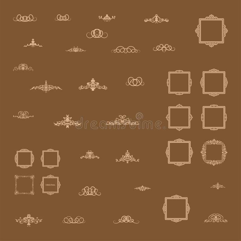 Elementi stabiliti della decorazione dell'annata Decorazione per il logo fotografie stock libere da diritti