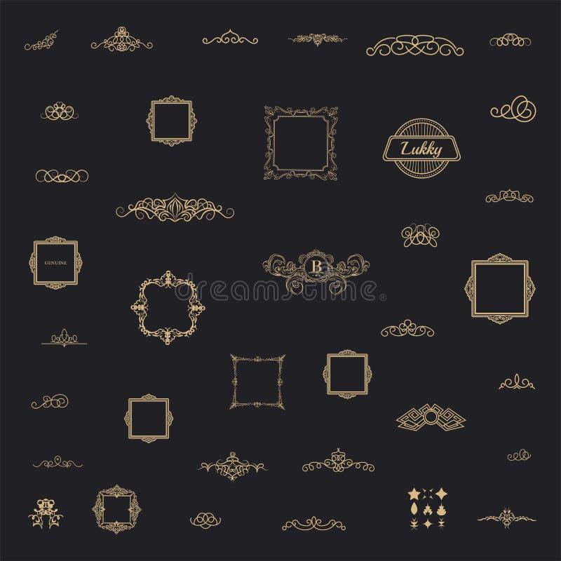 Elementi stabiliti della decorazione dell'annata Decorazione per il logo immagine stock