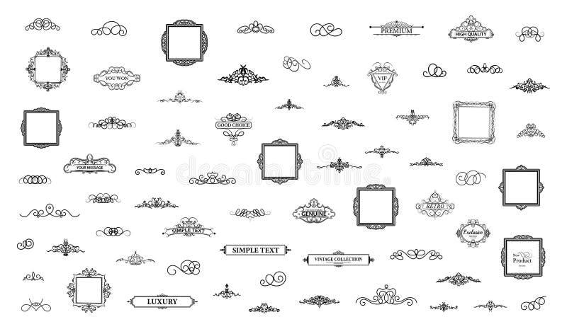 Elementi stabiliti della decorazione dell'annata Decorazione per il logo fotografie stock
