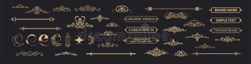 Elementi stabiliti della decorazione dell'annata Decorazione per il logo immagine stock libera da diritti