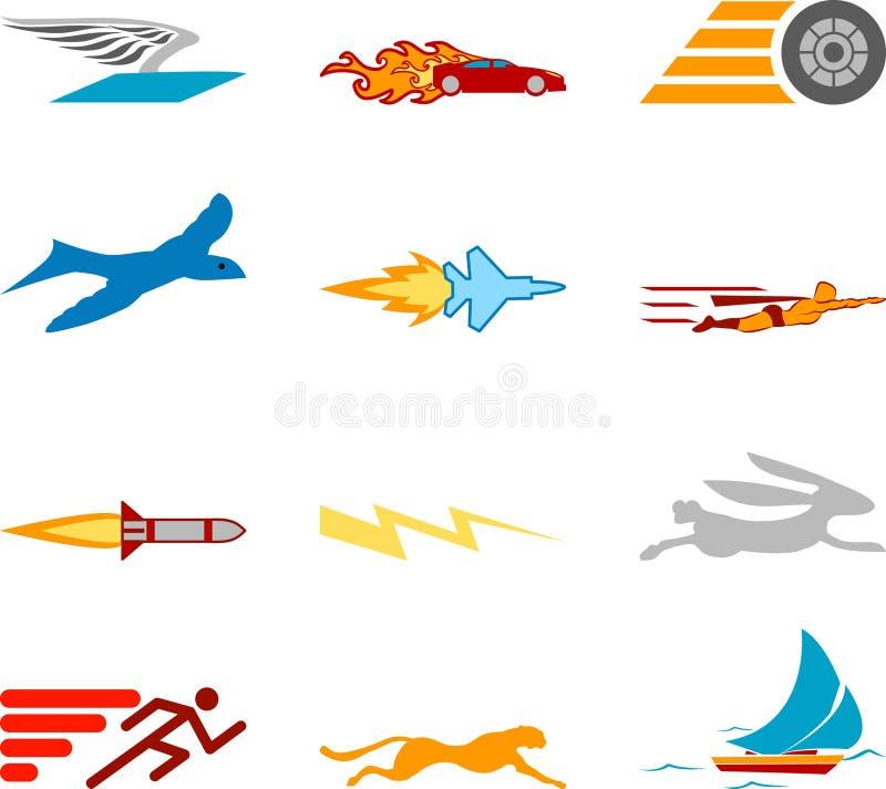 Elementi stabiliti di disegno di serie dell'icona di velocità