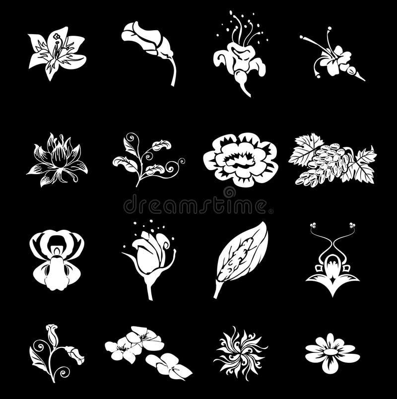 Elementi stabiliti di disegno di serie dell'icona floreale illustrazione di stock