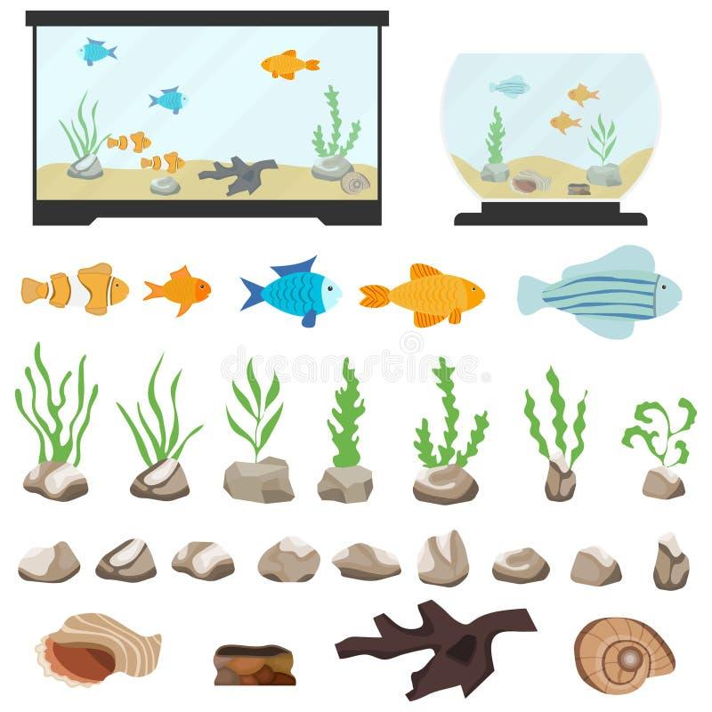 Elementi subacquei di vettore dell'acquario isolati su fondo bianco Fumetto di Aquaristics messo con il mare delle alghe delle pi illustrazione vettoriale