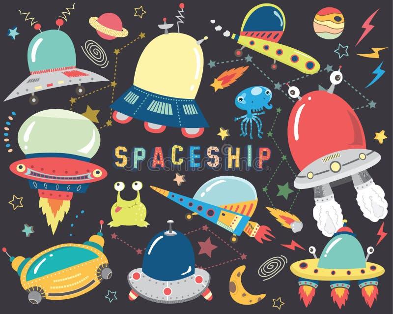 Elementi svegli dell'astronave dello spazio esterno illustrazione di stock