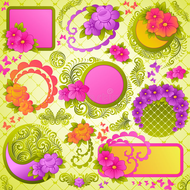 Elementi svegli di disegno floreale. illustrazione di stock