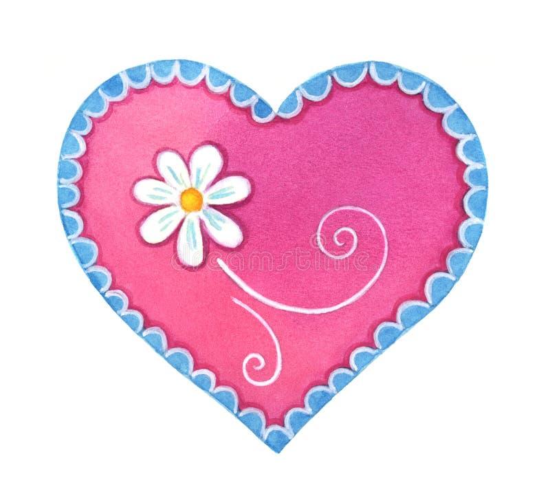 Elementi svegli rosa del cuore dell'acquerello, isolati su fondo bianco fotografia stock