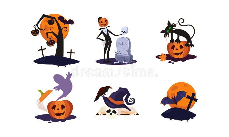 Elementi tradizionali di progettazione dell'insieme di Halloween, albero spaventoso, zucca, luna, tomba con la pietra tombale, fa illustrazione vettoriale