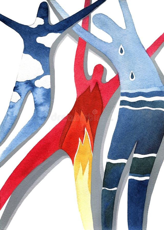 Elementi, tre corpi con il modello degli elementi illustrazione di stock