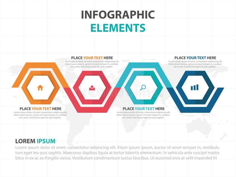 Elementi variopinti astratti di Infographics di affari di cronologia di esagono, illustrazione piana di vettore di progettazione  illustrazione di stock