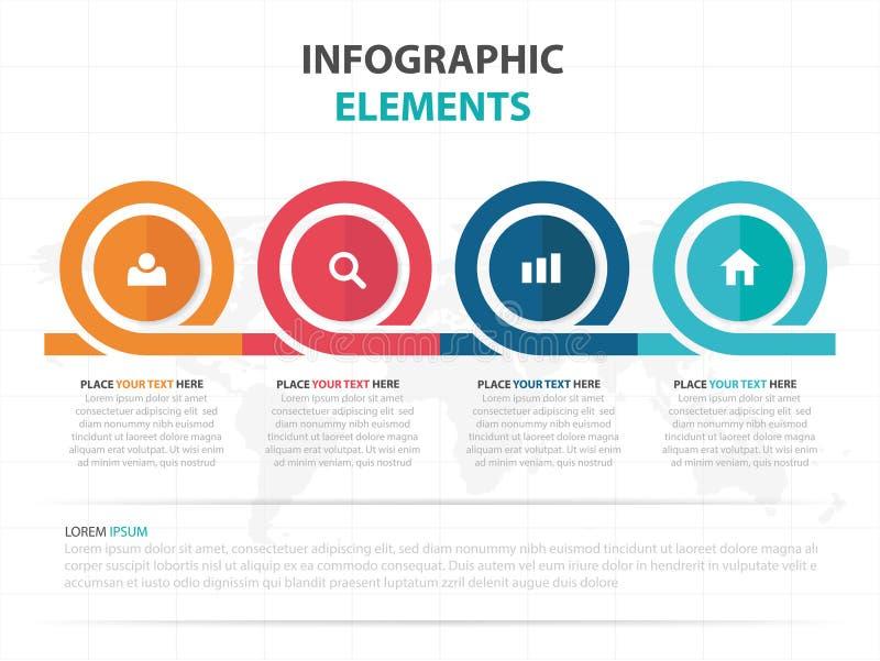 Elementi variopinti astratti di Infographics di cronologia di affari del cerchio, illustrazione piana di vettore di progettazione illustrazione vettoriale