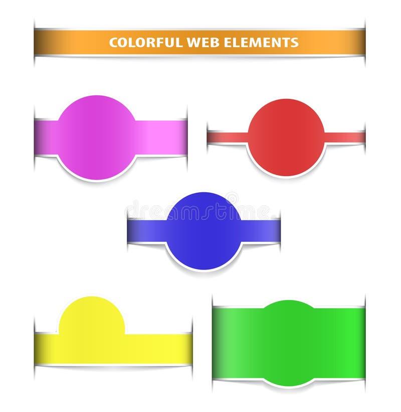Elementi variopinti di Web con le ombre fotografia stock libera da diritti