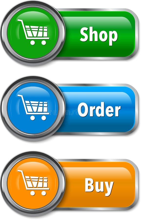 Elementi variopinti di Web per acquisto online illustrazione di stock