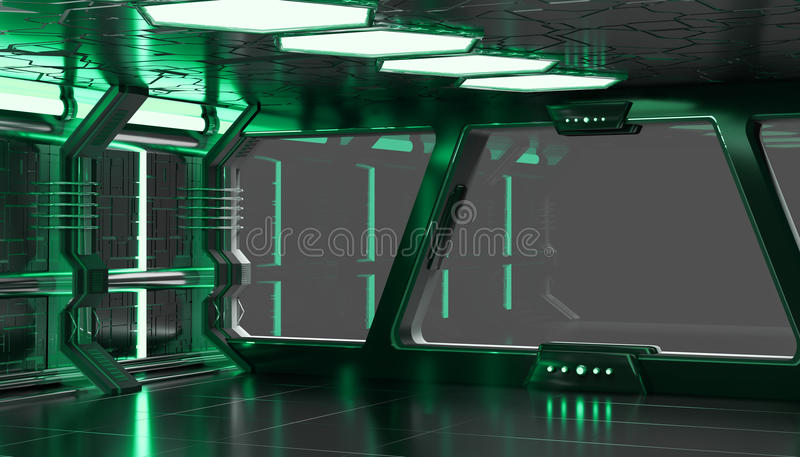 Elementi verdi della rappresentazione dell'interno 3D dell'astronave di questa pelliccia di immagine illustrazione di stock