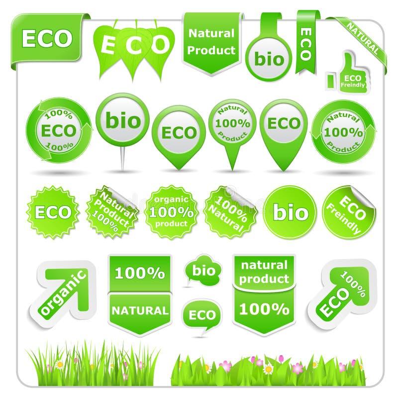 Elementi verdi di disegno di Eco illustrazione vettoriale