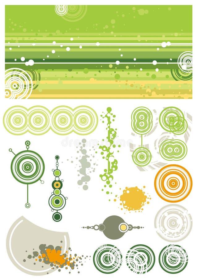 Elementi verdi di disegno e della priorità bassa illustrazione vettoriale