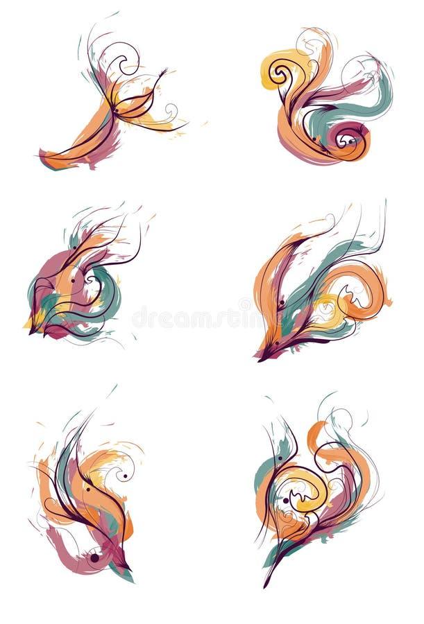 Elementi verniciati disegnati a mano sudici di disegno royalty illustrazione gratis