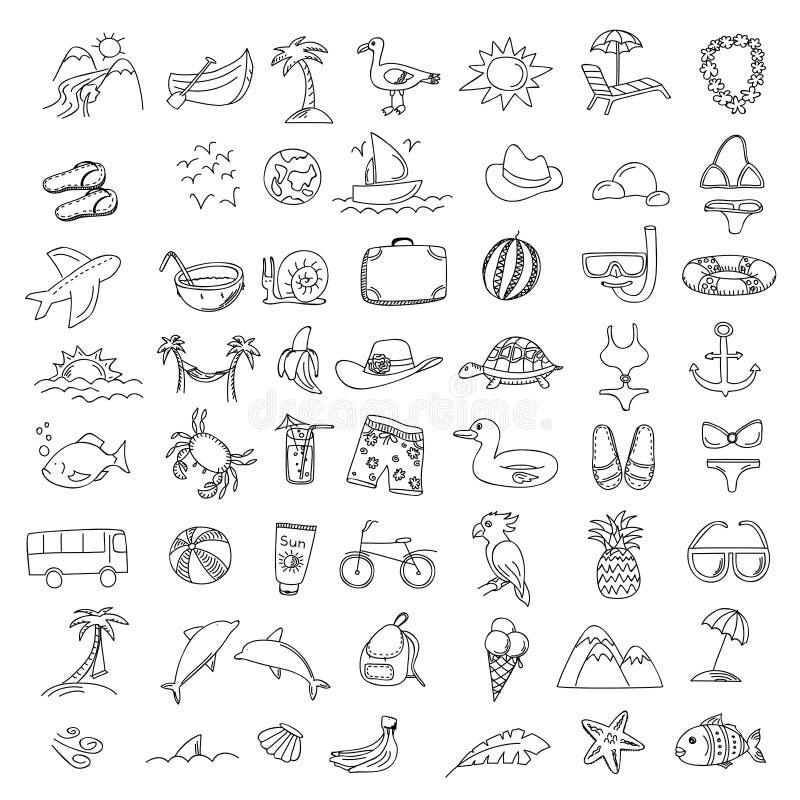 Elementi viaggio e festa di scarabocchi dell'insieme Icone di tiraggio della mano illustrazione vettoriale