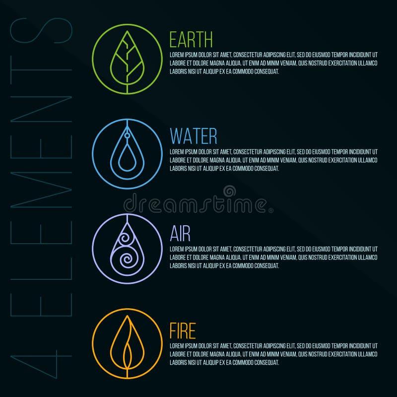 Elementkreis-Logozeichen der Natur 4 Erde, Wasser, Feuer, Luft Auf dunkelblauem Hintergrund vektor abbildung