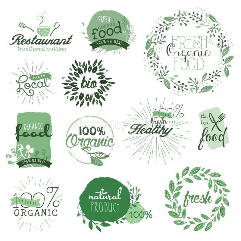 elementmat märker organiskt stock illustrationer