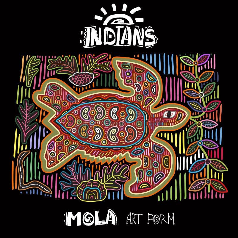 Elemento étnico del diseño del vector indios MOLA Art Form Mola Style Turtle Ejemplo decorativo brillante de Ethno stock de ilustración